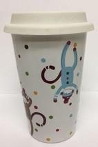 Sock Monkey Tumbler Ceramic Rubber Lid Hot Coffee Tea Chocolate St. Nich... - $18.46