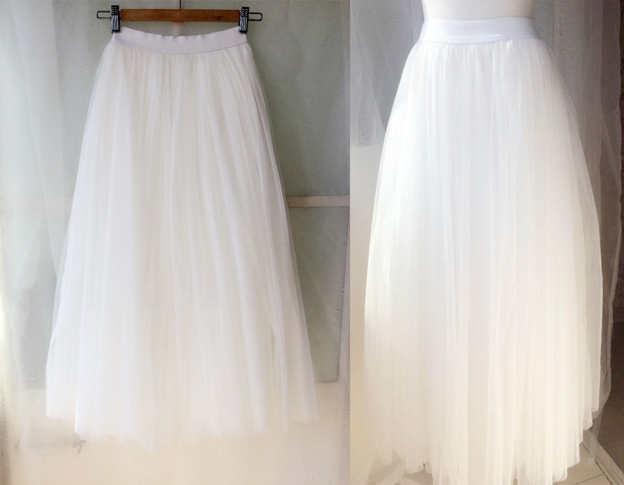 WHITE Long Tulle skirt White Wedding Tulle Skirt Plus Size White Tulle Skirt