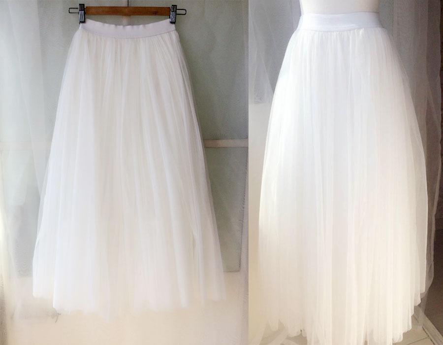 WHITE Long Tulle skirt Outfit Adult Tulle Long Skirt White Wedding Bridal Skirts