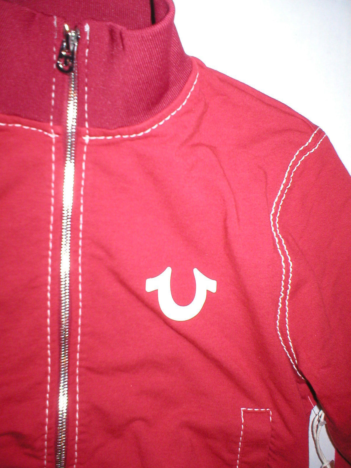 New Womens Designer True Religion Big T Sweat Jacket Terry Red White Zip XS NWT