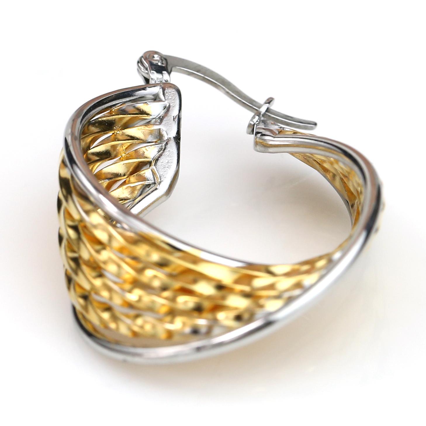 Trendy Twisted Gold & Silver Tone (Two Tone) Hoop Earrings- United Elegance