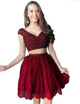 Womens 2019 Sexy Short Bead Homecoming Dress Two Piece Lace V Neck Party... - $125.99