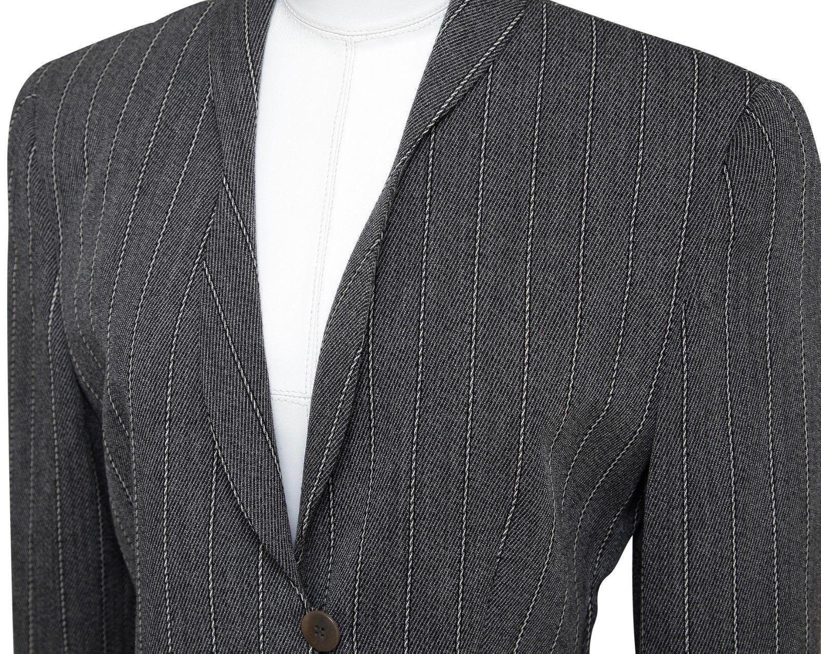 GIORGIO ARMANI Blazer Jacket Pinstripe Grey Off White Shawl Lapel Sz 40