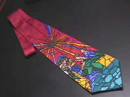 Dillards Neck Tie Christmas Stained Glass Look Manger Scene - $9.99