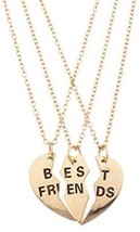 Lux Accessories Goldtone Engraved Best Friend Broken Heart Valentine BFF Shaped