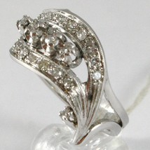 White Gold Ring 750 18K, Veretta Wavy, Double Wave of Diamonds, CT 0.45 image 2