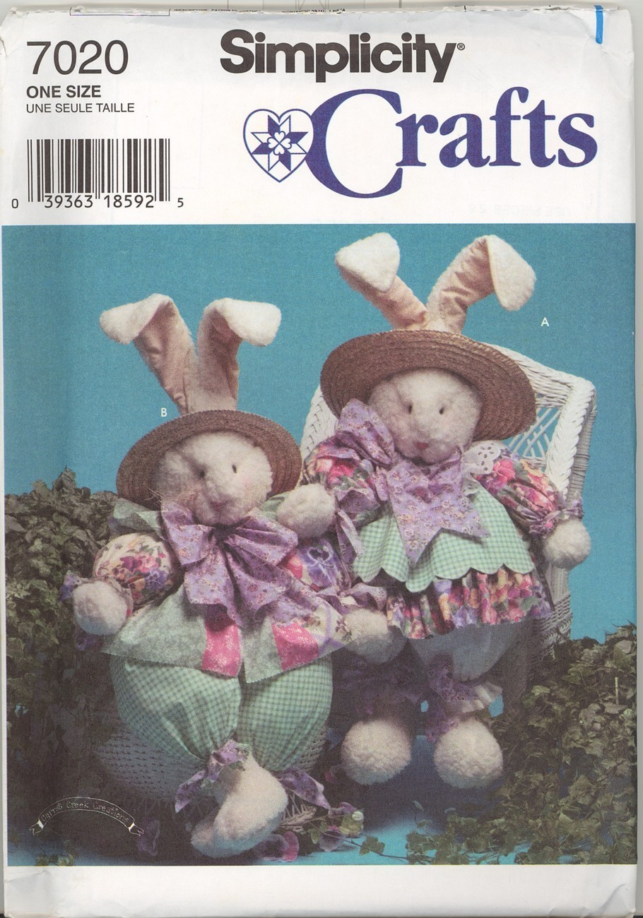 New Large 32 inch Easter Bunny Doll and Clothes Simplicity 7020 Sewing Pattern Simplicity