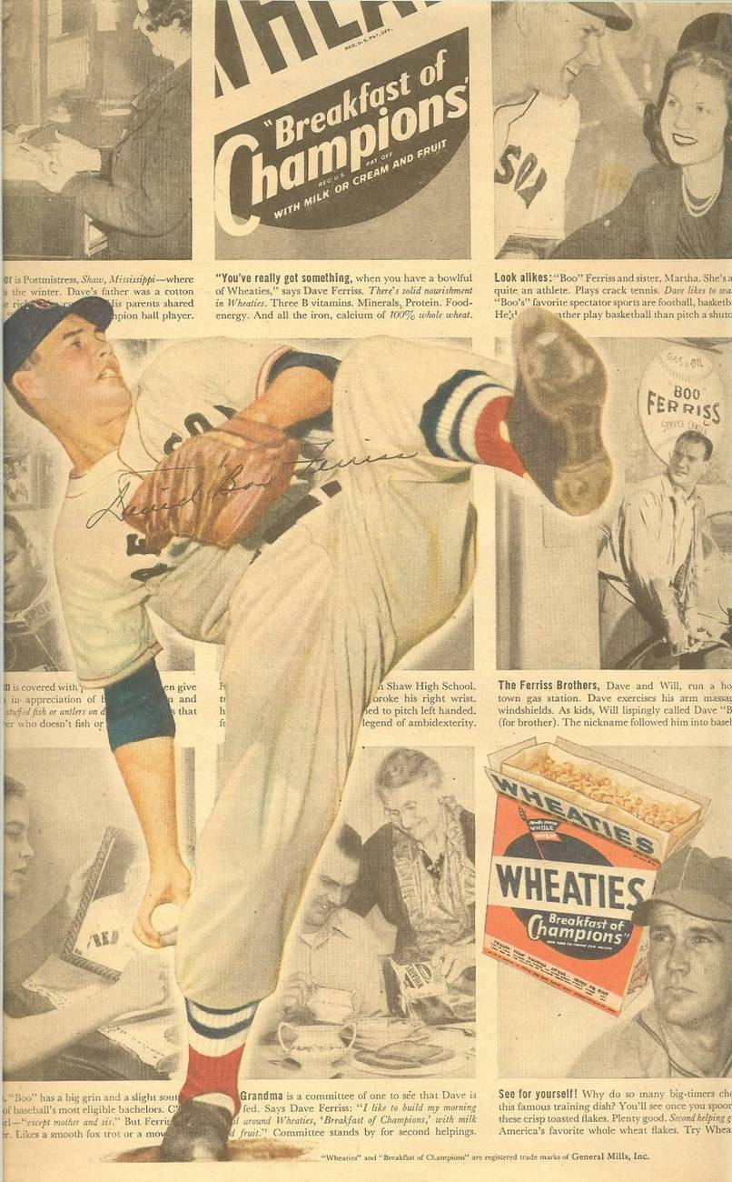 david boo ferriss boston red soxs wheaties ad newspaper rare