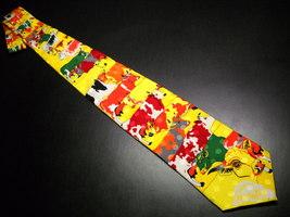 Collezioni Giovanni Trigoka Neck Tie Bright Yellow and Abstract Cows - $10.99