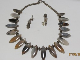 Agate teardrop necklace and earring set  16 inches image 4