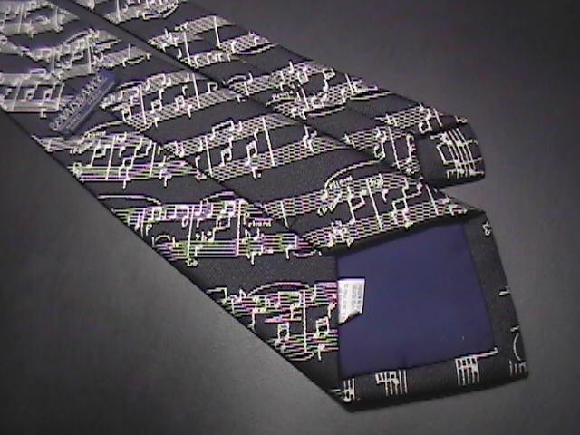 Renaissance Dress Neck Tie Black Background with Silver Musical Score Notations