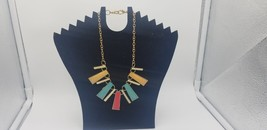 Vintage 1980s Gold Tone Chain W/ Multi Color Abstract Shapes As Pendants... - $9.62