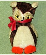 "12"" Vintage Superior Toy Novelty OWL Brown Off White Orange Hard Stuffed... - $32.78"