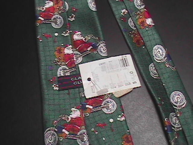 Class Club Neck Tie Childs Santa On A Motorcycle Never Worn with Tags