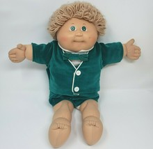 VINTAGE CABBAGE PATCH KIDS BLONDE HAIR BOY GREEN EYES STUFFED ANIMAL PLU... - $45.82