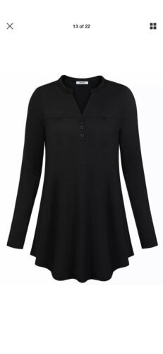 Primary image for NWT - YOUTALIA- tee medium long sleeve top henley black stretch top