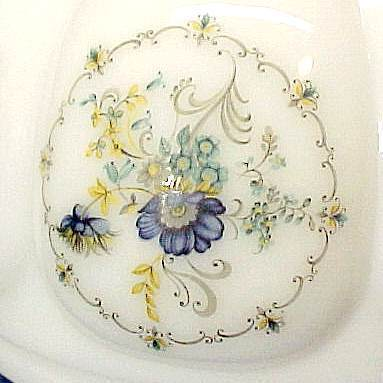 Blue Floral Milk Glass Hanging Light or Table Lamp Font