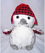 Aurora Lumberjack Owl Plush Stuffed Animal Bird Red Hat White Grey Spots... - $13.84