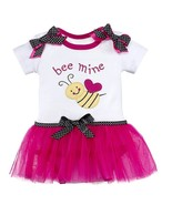 Bee Mine Diaper Shirt Fuchsia Pink Tutu Baby Girl 0-6 Months Ganz - $24.95
