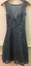 Women's Bridesmaid Dress Davids Bridal size 0 Metallic Steel Blue Lace - $47.95