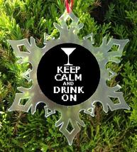 Keep Calm And Drink On Christmas Ornament   X Mas Ornament   Beer Martini, Wine - $12.95