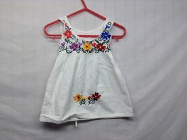 Infant Toddler White Dress w Colorful Floral Embroidery