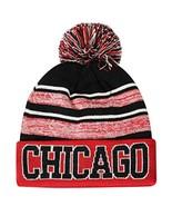 Chicago Men's Blended Stripe Winter Knit Pom Beanie Hat (Red/Black) - $13.89