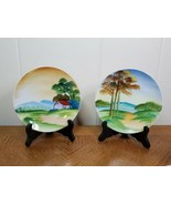 """Set Of Vintage Handpainted Porcelain Plates Japan China 6"""" Bread Plate Two - $37.62"""