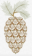 Pine Cone winter holiday cross stitch chart AAN Alessandra Adelaide Needleworks - $11.70