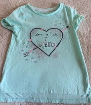 Gap Kids Girls Teal Love Is All I Need Silver Glitter Heart Short Sleeve... - $6.43
