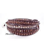 Chan LUU Brown Swarovski Crystal Mix Wrap Bracelet NEW - $168.40