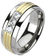 Men's Women's Solid Titanium Gold IP Grooved Center Triple CZ Band Ring ... - $12.34