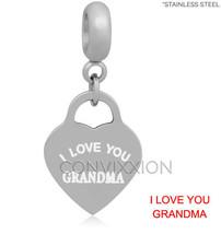 I Love You Grandma European Charm Bead Heart Dangle Nana Maw Maw Grandmo... - $14.99