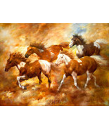 Chasing The Wind by Bill Davies Horses Canvas Giclee - $187.11