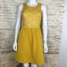 Maeve Anthropologie Women's Dress XS Yellow Lace Accent Textured Sleeveless - $23.24