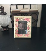 """VICTORIAN Shabby Chic 7.5"""" x 6"""" LIGHT GREEN PICTURE FRAME FLORAL Pink Rose - $9.89"""