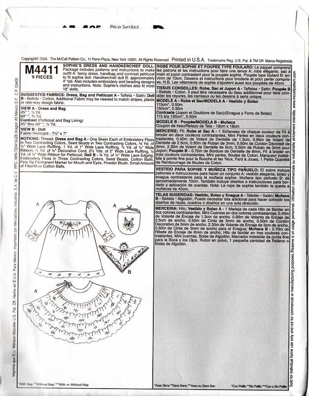 """MCCalls #4411 18"""" Sophie's Everyday Clothes Fancy Dress Pattern No. 4"""