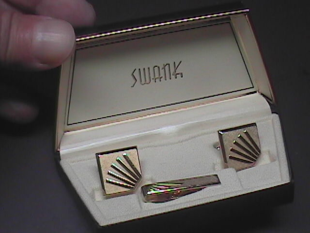 Swank Cuff Link and Tie Clasp Set Gold Color in Original Presentation Box