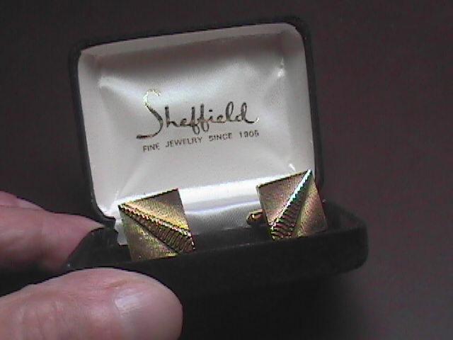 Sheffield Gold Colored Cuff Links in Sheffield Original Presentation Box