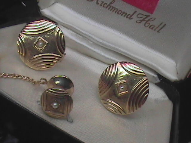 Richmond Hall Cuff Link and Tie Tack Set Golden Color Pearls in Presentation Box