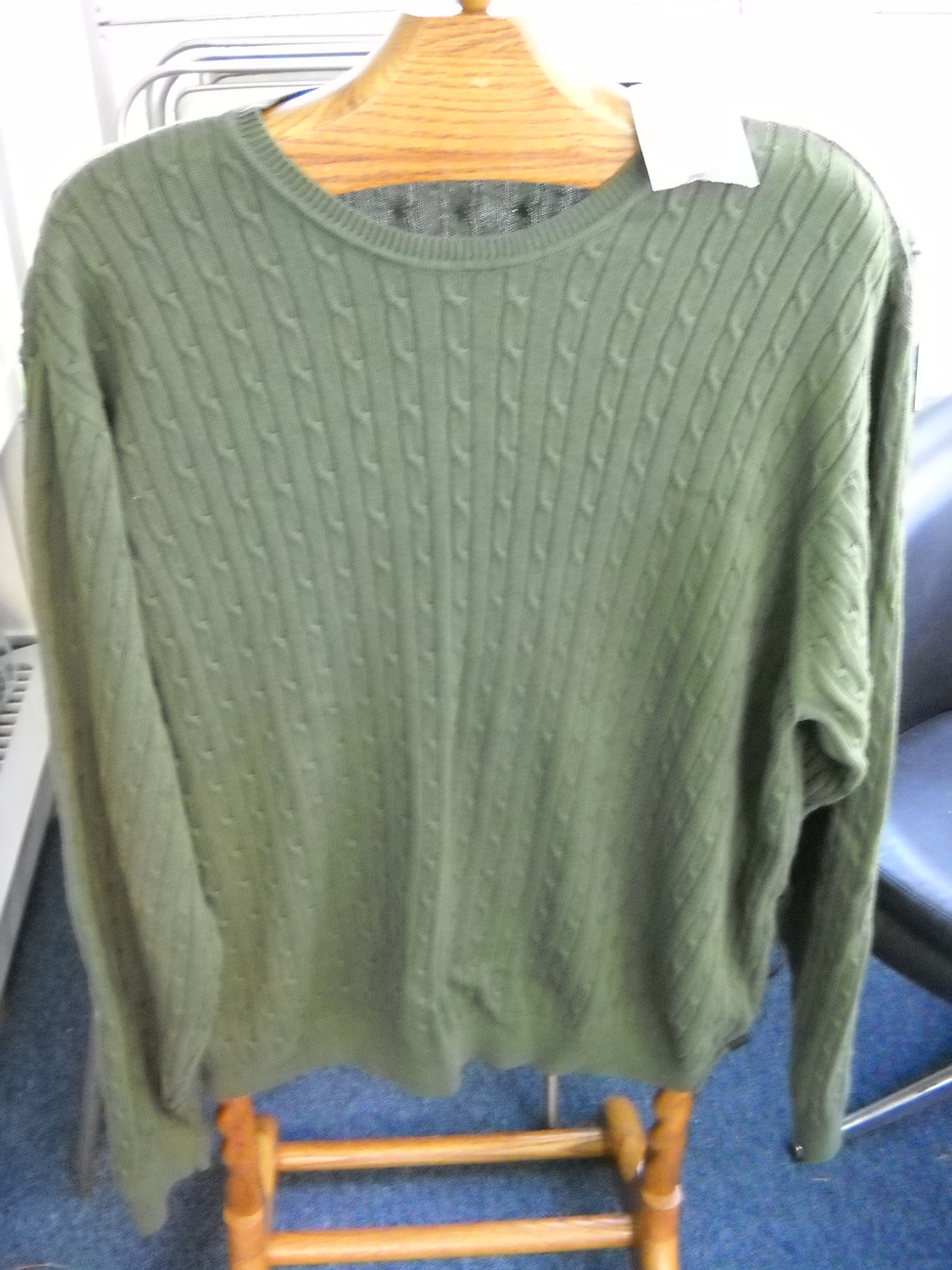 Izod Cabled Cotton Sweater XXL Long Sleeve Green New Unworn with Tag