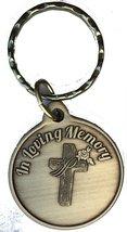 In Loving Memory Cross Rose Keychain Bronze Memorial Bereavement Gift Those We L - $5.93