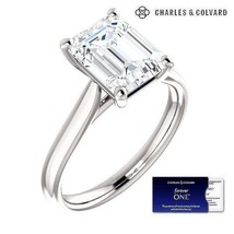 2.50 Carat Emerald Cut Forever One Moissanite Ring  in 14k Gold(Charles&... - $1,595.00