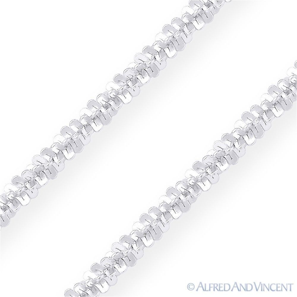 1.6mm Roc Link Italian Sparkle-Rope Chain Necklace in .925 Italy Sterling Silver