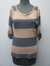 SPLENDID Navy Blue Brown Striped Cuffed Half Sleeve Scoop Neck Top Sz S ... - $29.69