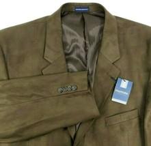Stafford Essentials NEW Microsuede Blazer Size 48 Regular Brown Classic Fit - $59.35