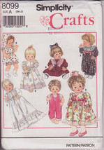 Vintage Simplicity 8099 Sewing Pattern 1992 Wardrobe for Baby Dolls in 3... - $10.00