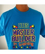 Btes Master Builder in Training XL PC Video Gaming Gamer T Shirt Blue Lego - $34.64