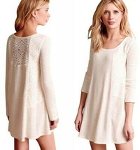 Anthropologie Sleep Chemise Large 10 12 Ivory Knit Nightie Lacy Thermal ... - $58.65