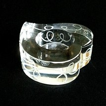 1 (One) MIKASA LOVE STORY Etched Lead Crystal Heart Votive Candle Holder... - $12.34